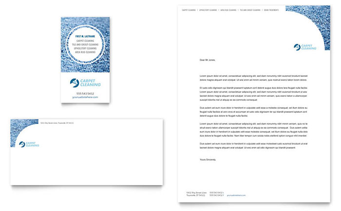 Carpet Cleaning Business Card & Letterhead Template Word