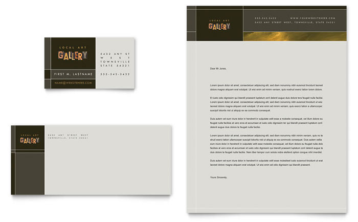 Art Gallery & Artist Business Card & Letterhead Template Word