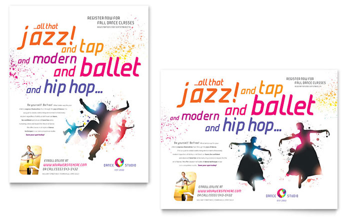 Dance Studio Poster Template Word & Publisher
