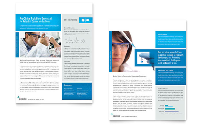 Science & Chemistry Datasheet Template Word & Publisher