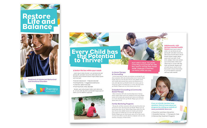 Adolescent Counseling Tri Fold Brochure Template Word & Publisher