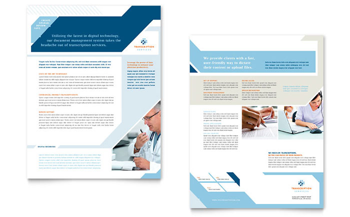 Medical Transcription Datasheet Template Word & Publisher