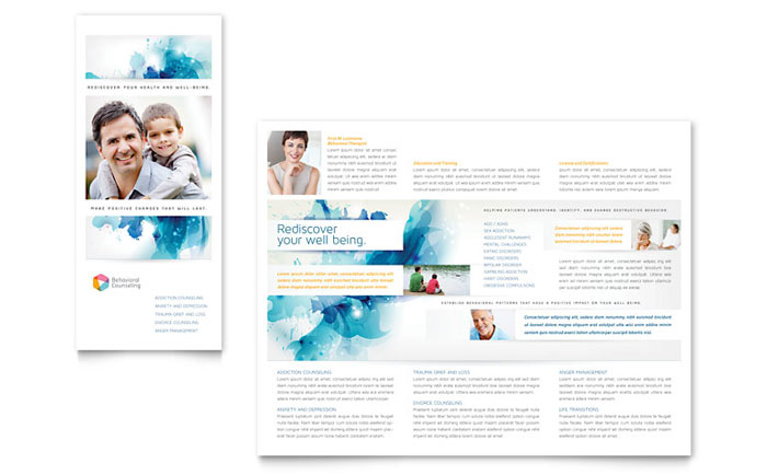 Behavioral Counseling Tri Fold Brochure Template Word & Publisher