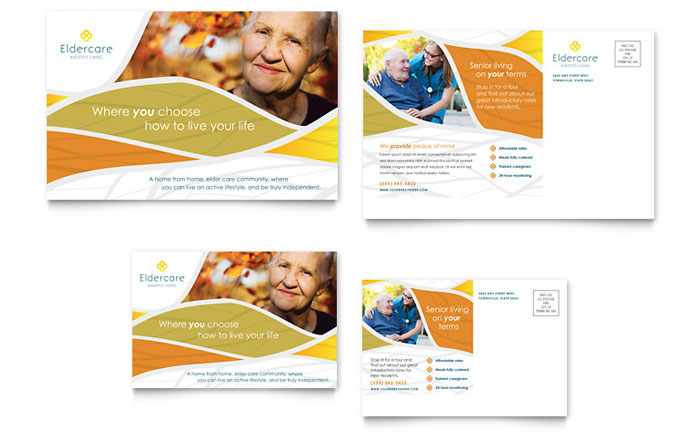 Assisted Living Postcard Template Word & Publisher