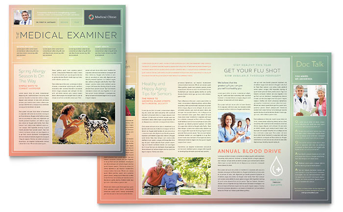 Medical Clinic Newsletter Template Word & Publisher