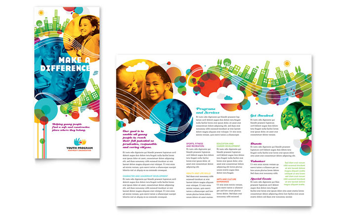 Youth Program Tri Fold Brochure Template Word & Publisher