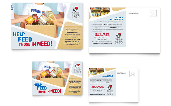 Food Bank Volunteer Postcard Template Word & Publisher