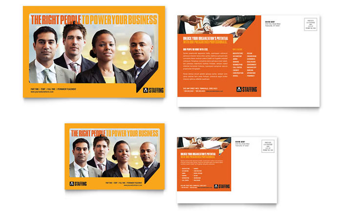 Staffing & Recruitment Agency Postcard Template Word