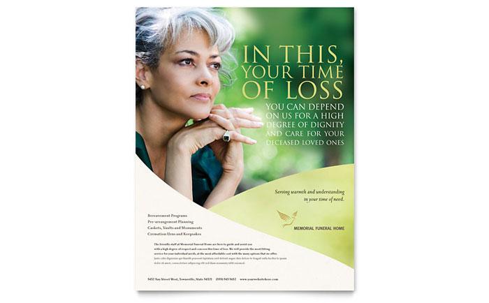 Memorial & Funeral Program Flyer Template Word & Publisher