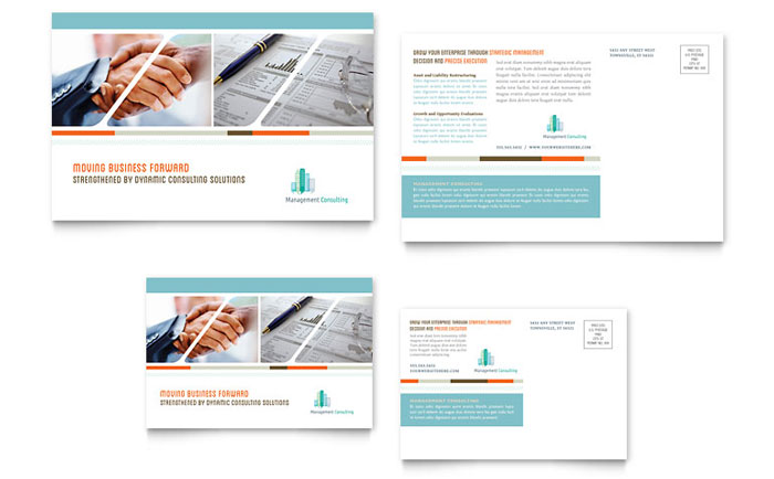 Management Consulting Postcard Template Word & Publisher