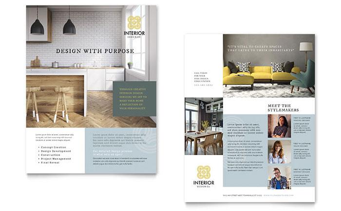 Interior Design Datasheet Template Word & Publisher