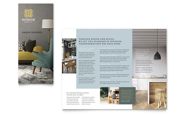 Interior Design Tri Fold Brochure Template Word & Publisher