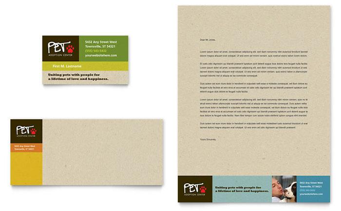 Animal Shelter  Pet Adoption Business Card  Letterhead