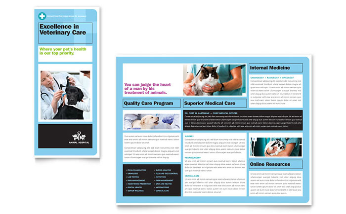Animal Hospital Brochure Template Word & Publisher