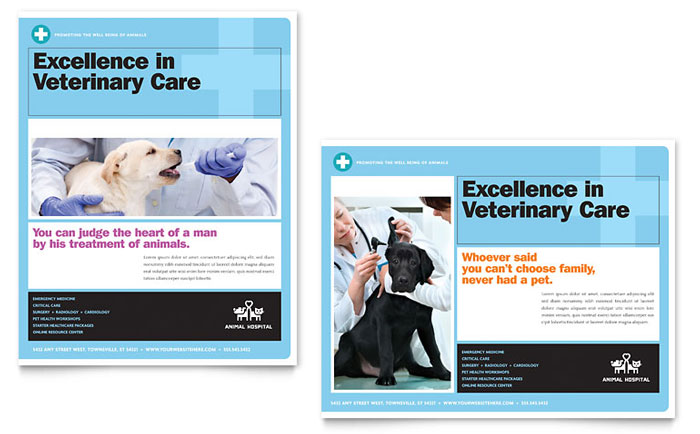 Animal Hospital Poster Template Word & Publisher
