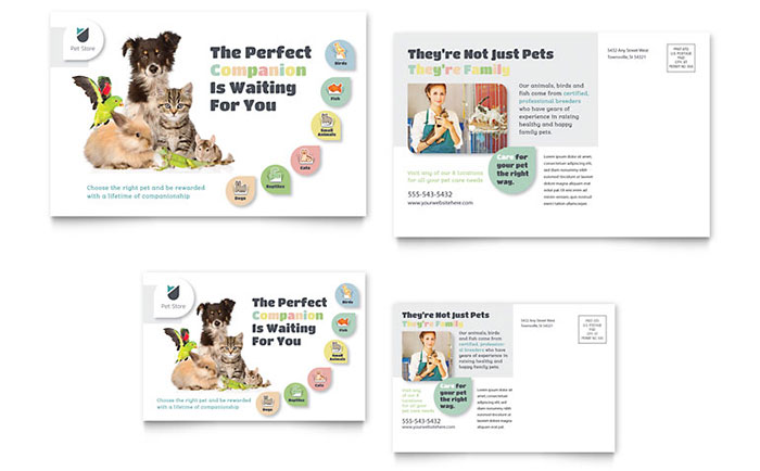 Pet Store Postcard Template Word & Publisher