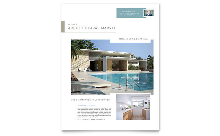 Modern Real Estate Flyer Template Word & Publisher