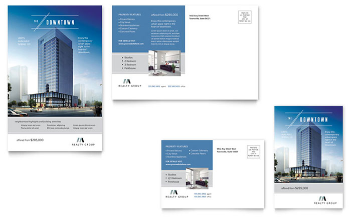 Downtown Apartment Postcard Template Word & Publisher