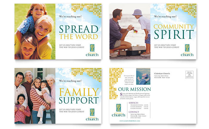 Christian Church Postcard Template Word Amp Publisher