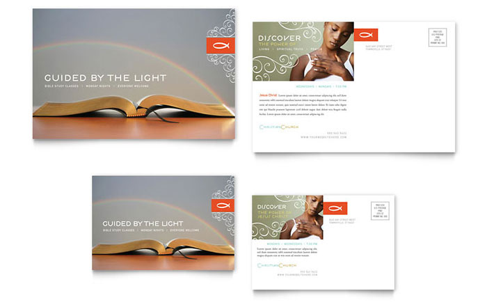 Christian Church Religious Postcard Template  Word  Publisher