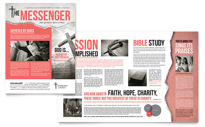 Bible Church Newsletter Template  Word  Publisher