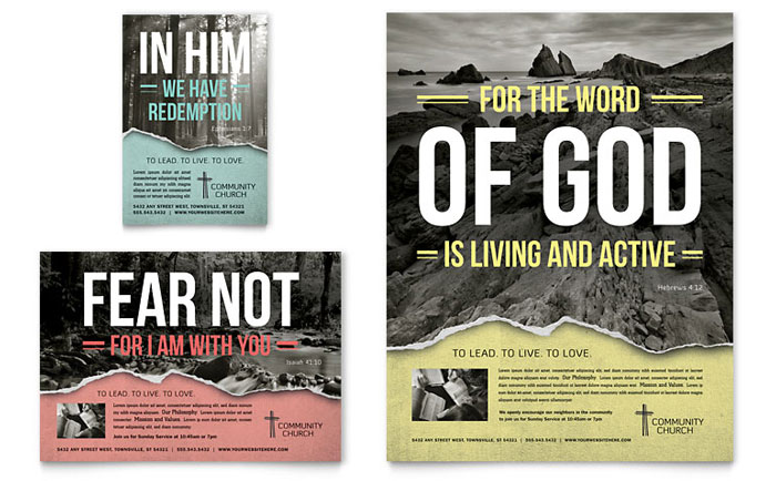 Bible Church Flyer & Ad Template Word & Publisher