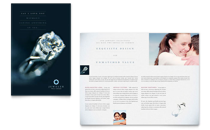 Jeweler  Jewelry Store Brochure Template  Word  Publisher