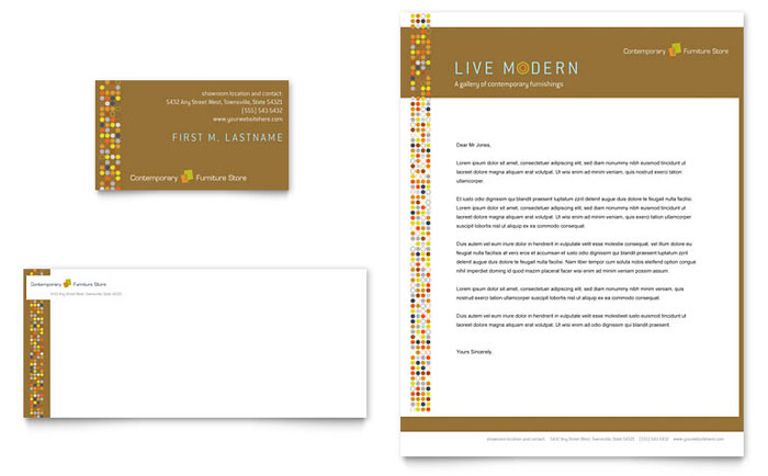 Furniture Store Business Card & Letterhead Template Word