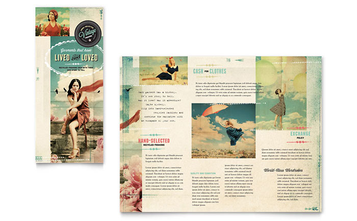 Vintage Clothing Tri Fold Brochure Template  Word  Publisher