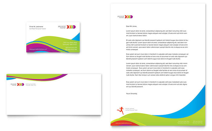 Personal Trainer Business Card  Letterhead Template  Word  Publisher