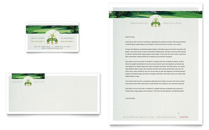 Golf Course  Instruction Business Card  Letterhead