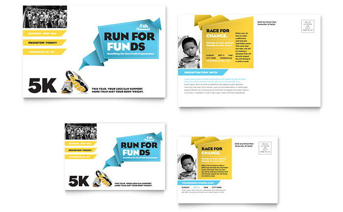 Charity Run Postcard Template Word & Publisher