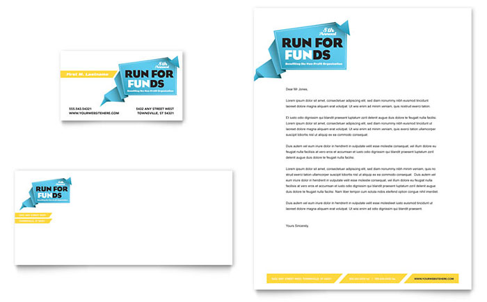 Charity Run Business Card  Letterhead Template  Word