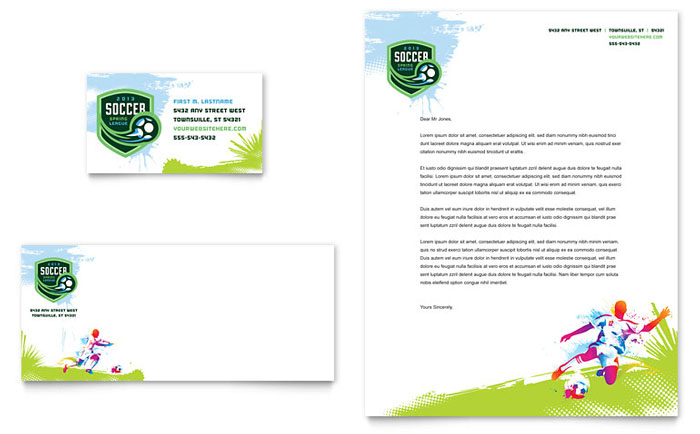 Youth Soccer Business Card Amp Letterhead Template Word Amp Publisher