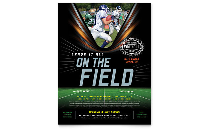 Football Training Flyer Template Word & Publisher