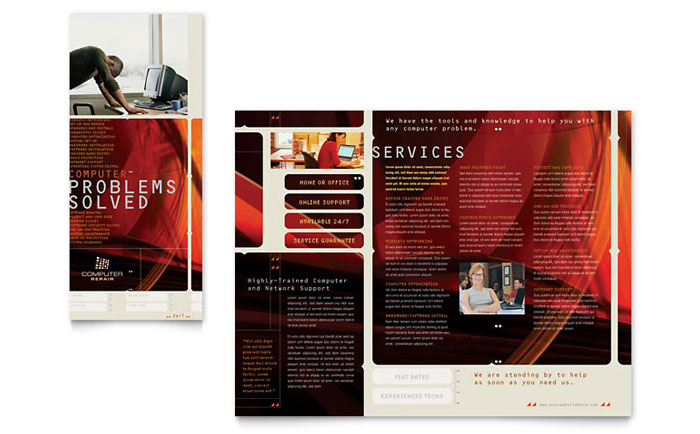 Computer Repair Brochure Template  Word  Publisher