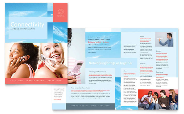 Communications Company Brochure Template Word & Publisher