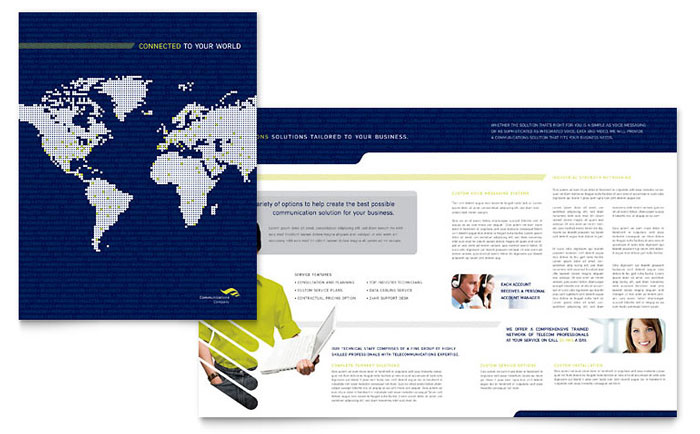Global Communications Company Brochure Template Word Publisher