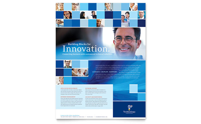 Technology Consulting & IT Flyer Template Word & Publisher