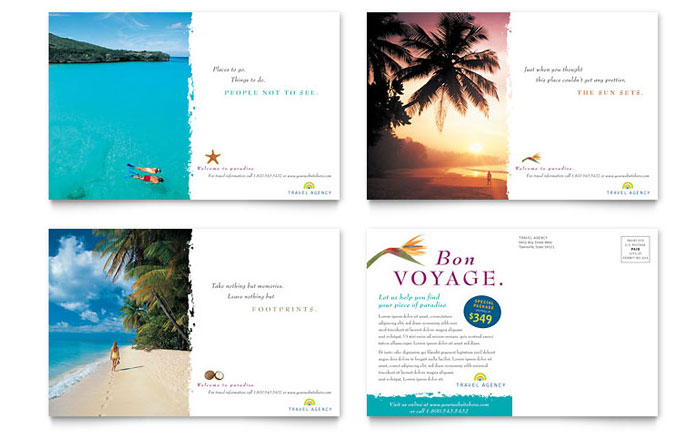 Travel Agency Postcard Template Word & Publisher