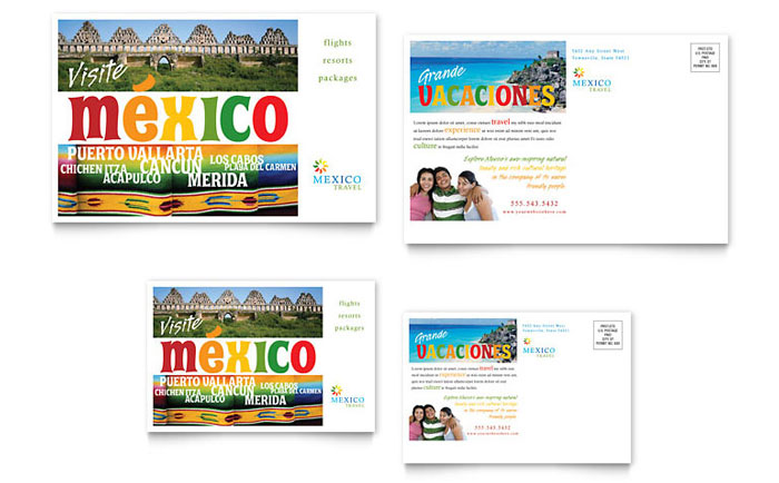 Mexico Travel Postcard Template Word & Publisher