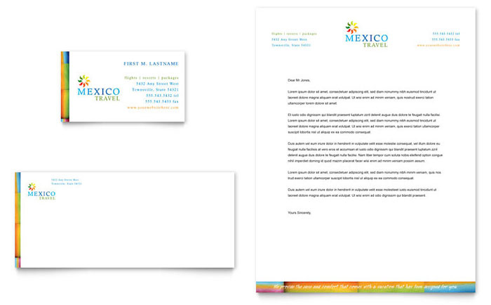 Mexico Travel Business Card & Letterhead Template Word