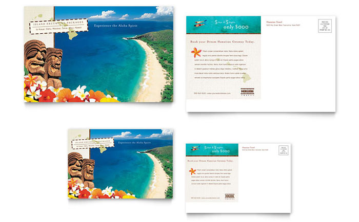 Hawaii Travel Vacation Postcard Template Word & Publisher