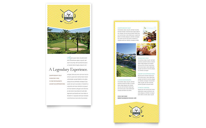 Golf Resort Rack Card Template Word & Publisher