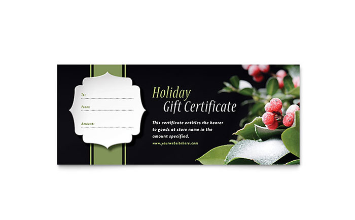 Holly Leaves Gift Certificate Template Word Amp Publisher