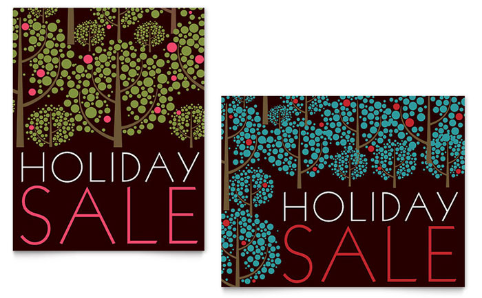 Stylish Holiday Trees Sale Poster Template Word Amp Publisher
