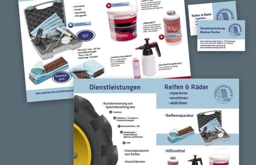 Flyer DIN A4 und Visitenkarten für Handelsvertretung Fischer