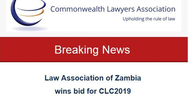 The Commonwealth Lawyers Association (CLA) is pleased to announce that the winner of the 21st Commonwealth Law Conference bid for 2019 is the Law Association of Zambia (LAZ).