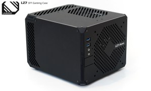 By popular request the LZ7 SFF PC Gaming Case is shown here with matte black side panels to match the front and top panels. The main change to the design is the addition of some new intake vent designs for the System and GPU panels. This configuration is showing the LZ7 Aero Vent design which is made up of small hexagons. The Power (IO) Panel has also been tweaked with a new simpler design giving a more minimalist look, integrating the power button, USB and Audio ports into the panel itself rather than the corner piece as seen with the LZ7 First Edition.