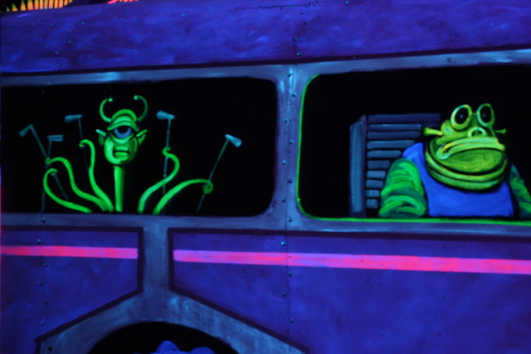 [Blacklight Mini Golf course]
